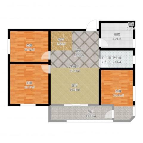 鑫湘佳园3室2厅1卫1厨110.00㎡户型图
