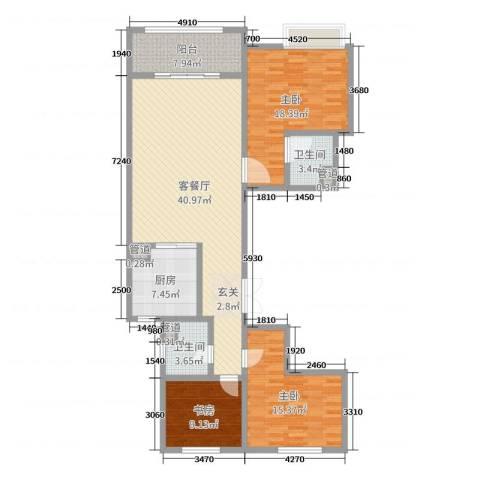 唐山新世界中心3室2厅2卫1厨134.00㎡户型图