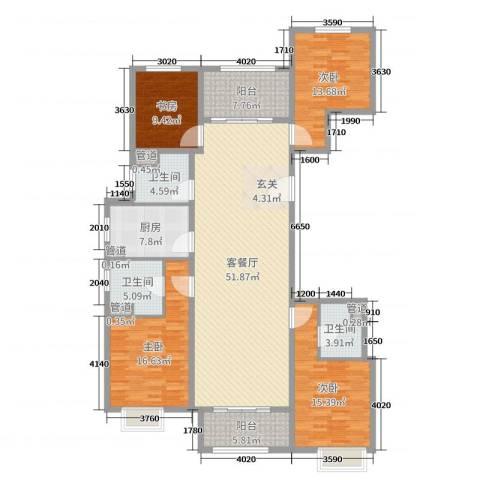 唐山新世界中心4室2厅3卫1厨179.00㎡户型图