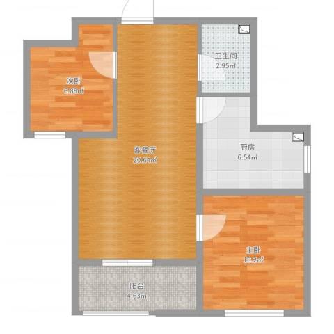 开元观唐2室2厅1卫1厨65.00㎡户型图