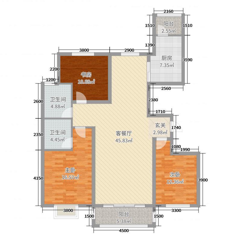 盛景新城149.16㎡B1-e户型3室3厅2卫1厨