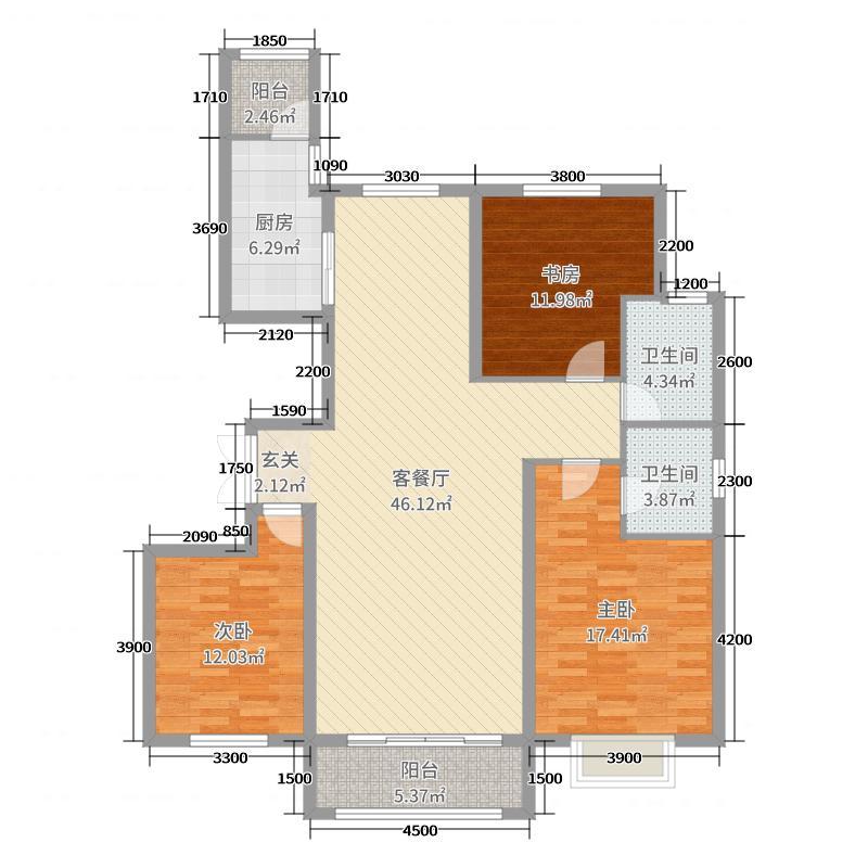 盛景新城151.52㎡A2-a户型3室3厅2卫1厨
