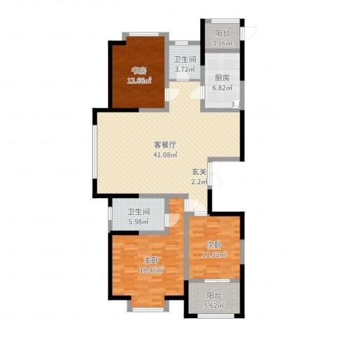 河畔花城3室2厅2卫1厨136.00㎡户型图