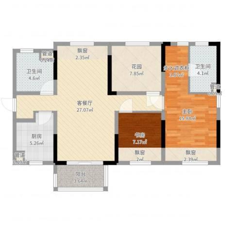 万科城市花园2室2厅2卫1厨95.00㎡户型图