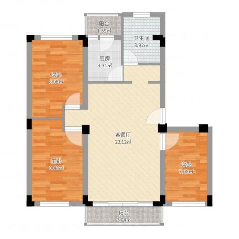 景福花园3室2厅1卫1厨76.00㎡户型图
