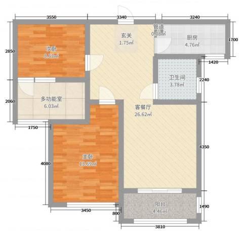 金域华府2室2厅1卫1厨93.00㎡户型图