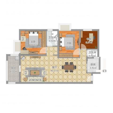 桃源华庭3室1厅2卫1厨107.00㎡户型图
