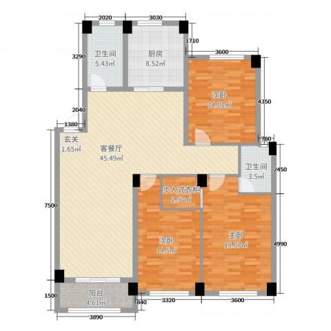 锦麟瓜渚御景园3室2厅2卫1厨138.00㎡户型图