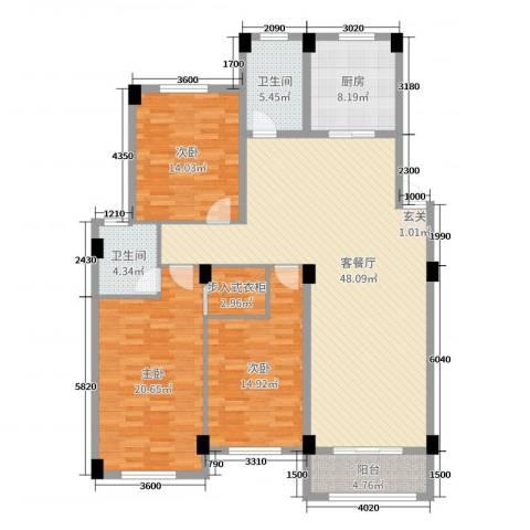 锦麟瓜渚御景园3室2厅2卫1厨145.00㎡户型图