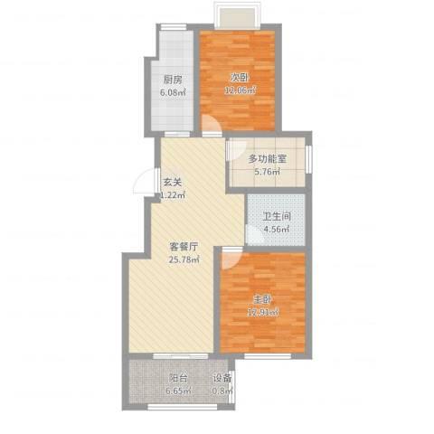 海洲铂兰庭2室2厅1卫1厨92.00㎡户型图