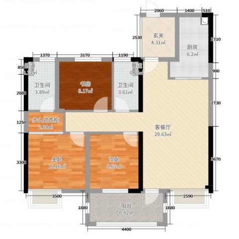 明园九龙湾3室2厅2卫1厨105.00㎡户型图