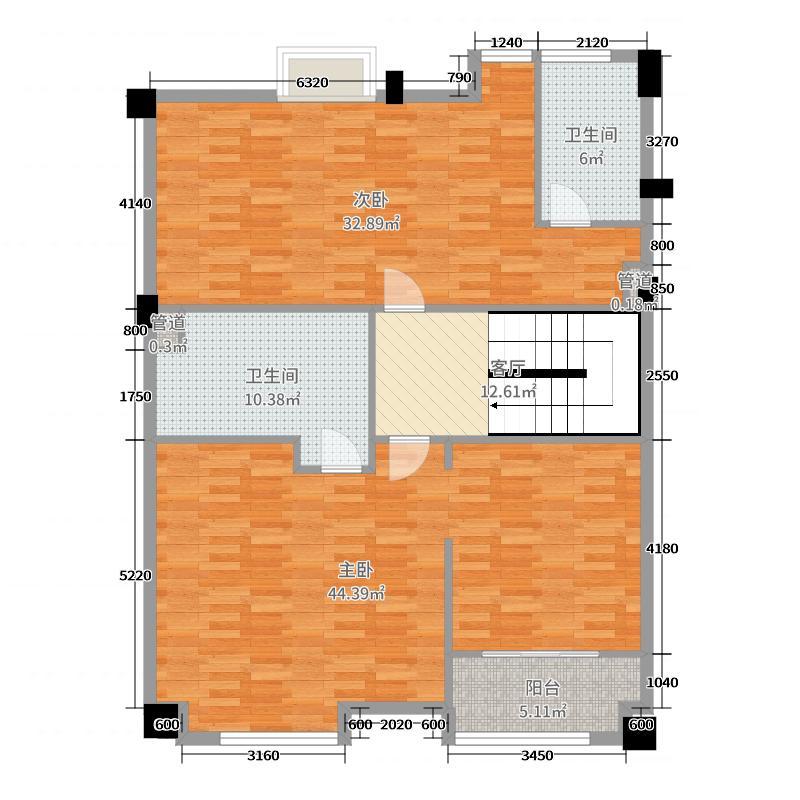 龙湖春江郦城140.00㎡A2-3跃层2F户型3室3厅2卫1厨