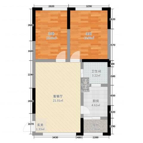 富临桃花岛2室2厅1卫1厨70.00㎡户型图