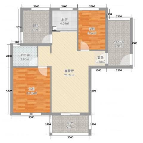 汇景东方花园2室2厅1卫1厨90.00㎡户型图