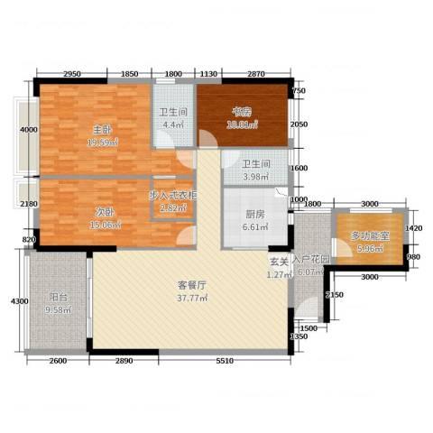 长堤1号3室2厅2卫1厨121.85㎡户型图