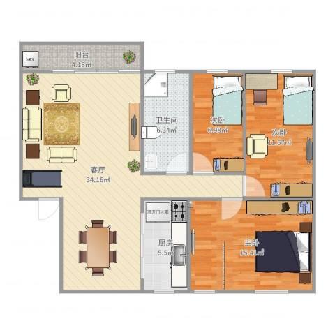 宁海花园3室1厅1卫1厨105.00㎡户型图