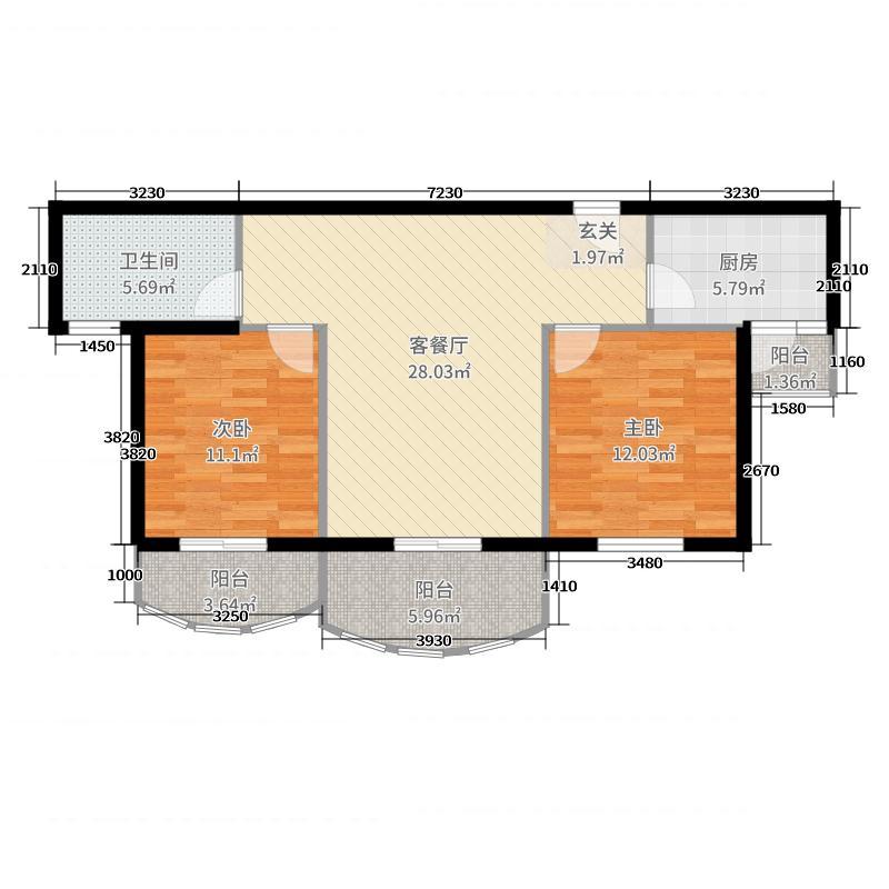 汉武国际城92.00㎡B户型2室2厅1卫1厨
