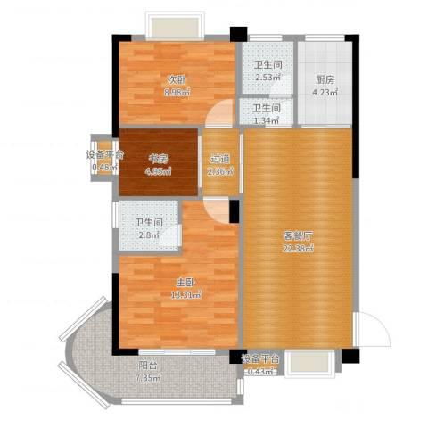 麓山枫情二期3室2厅3卫1厨89.00㎡户型图