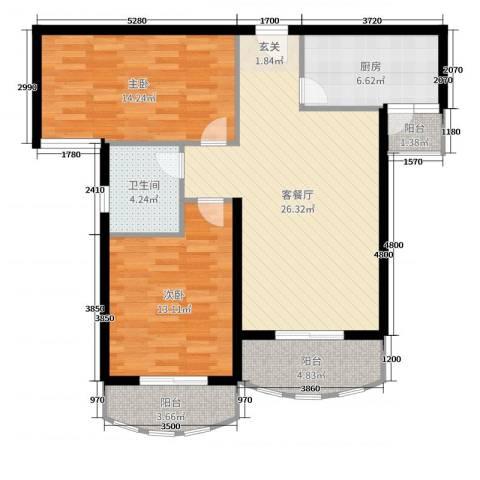 汉武国际城2室2厅1卫1厨93.00㎡户型图