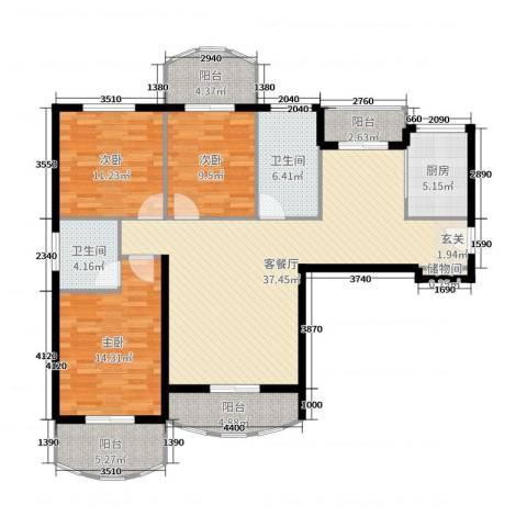 汉武国际城3室2厅2卫1厨132.00㎡户型图