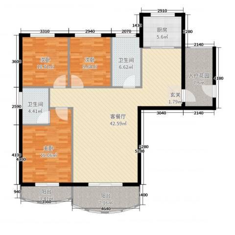 汉武国际城3室2厅2卫1厨141.00㎡户型图