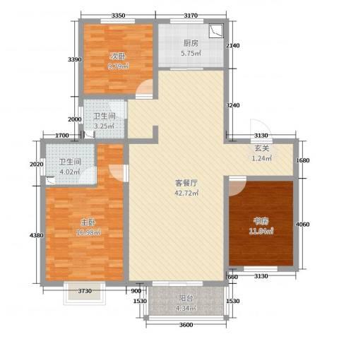 浩友凤凰城3室2厅2卫1厨122.00㎡户型图