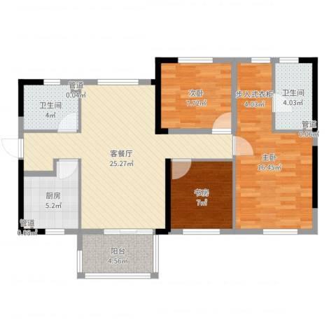 万科城市花园3室2厅2卫1厨93.00㎡户型图