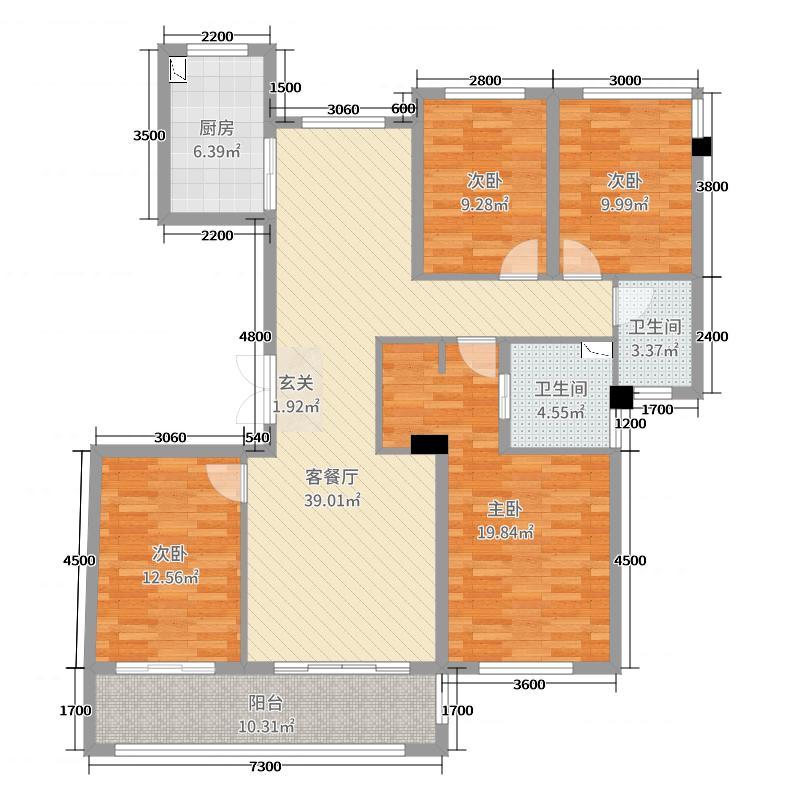宏地・金玉府129.00㎡层峰2户型4室4厅2卫1厨