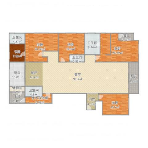 万科珠宾花园—1栋18015室1厅4卫1厨295.00㎡户型图