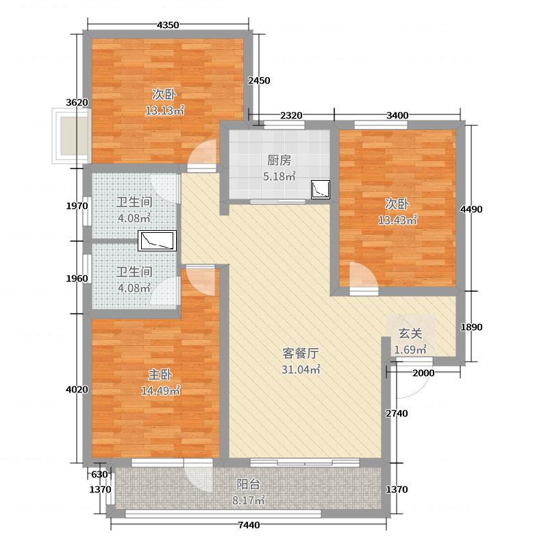 瑞城117.00㎡4#、5#I户型3室3厅2卫1厨
