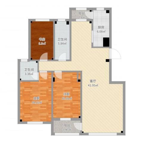 海创半山壹号3室1厅2卫1厨123.00㎡户型图