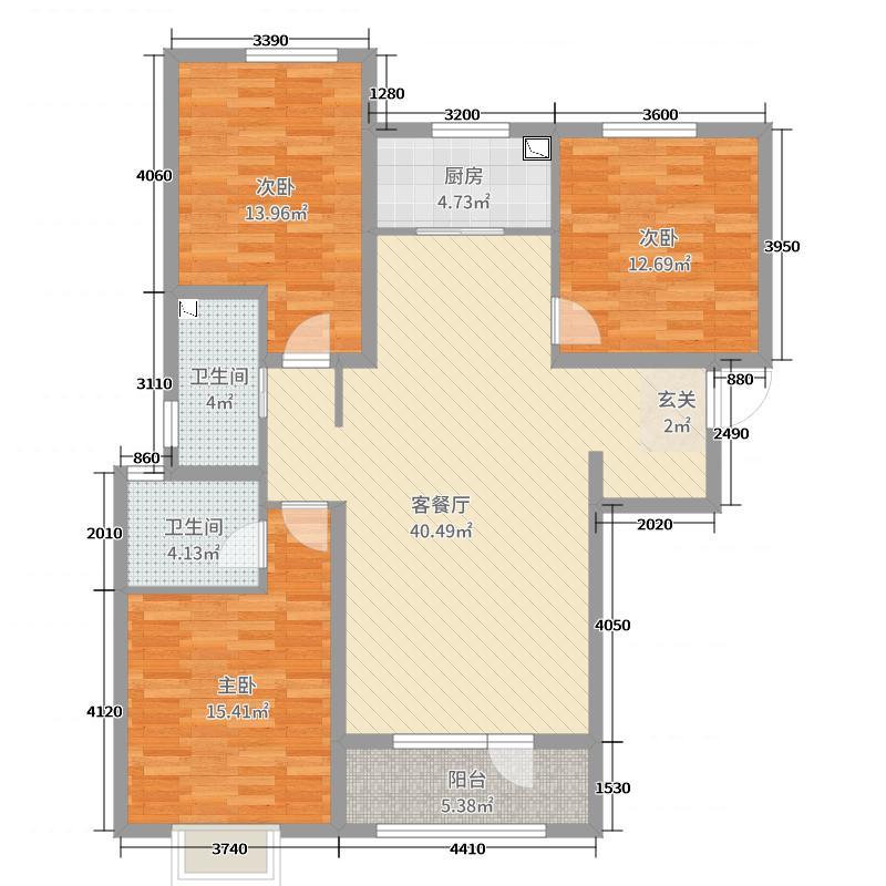 瑞城126.00㎡2#C户型3室3厅2卫1厨