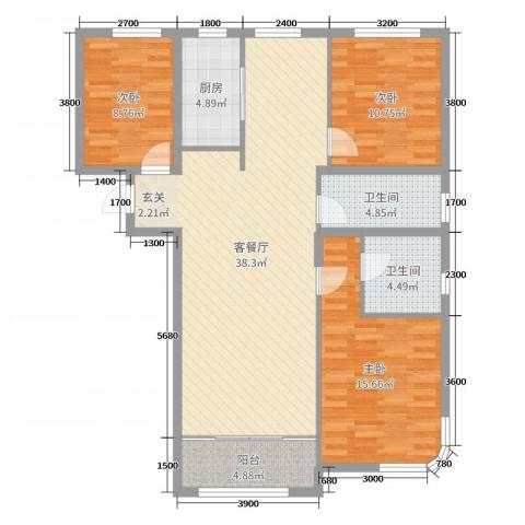 御园3室2厅2卫1厨132.00㎡户型图