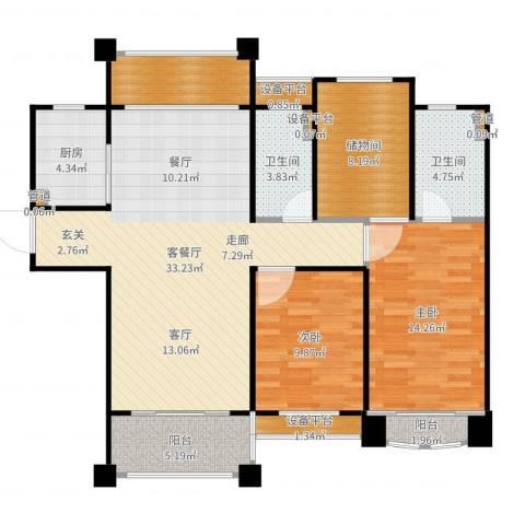 佛奥中金棕榈湾2室2厅2卫1厨116.00㎡户型图