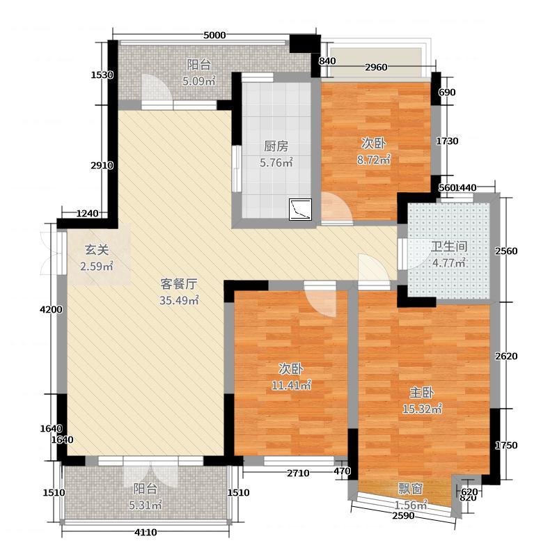 新华府114.85㎡7#楼中间套1户型3室3厅1卫1厨