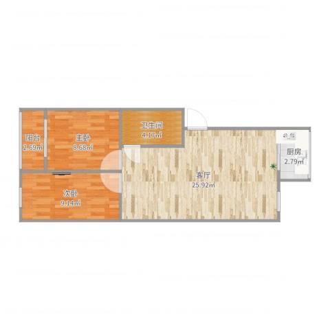 天泉山庄2室1厅1卫1厨67.00㎡户型图