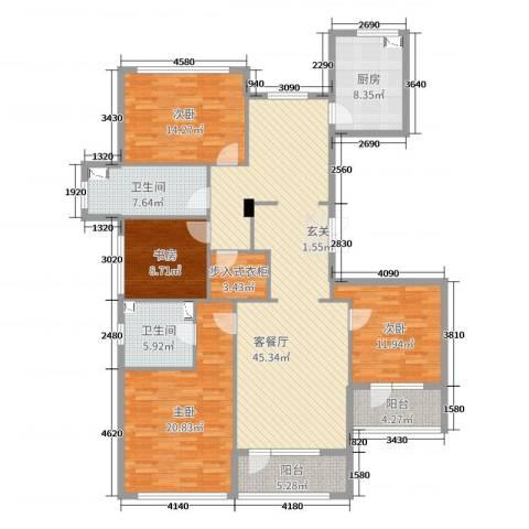 绿城御园别墅4室2厅2卫1厨170.00㎡户型图