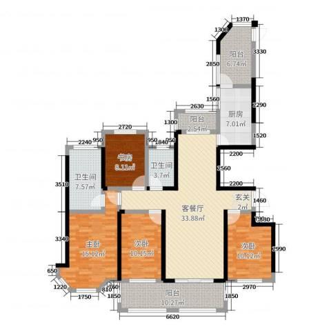 路通沁园4室2厅2卫1厨144.00㎡户型图