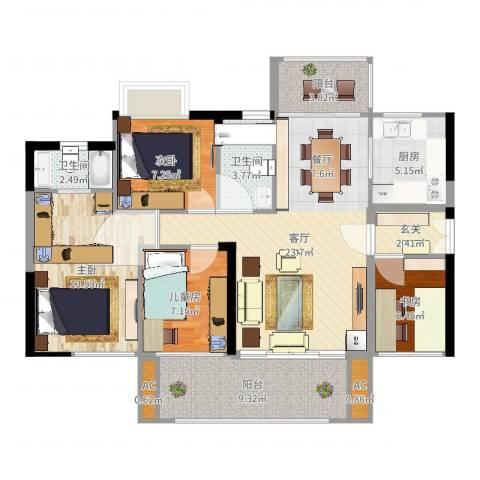 可逸家园4室1厅2卫1厨107.00㎡户型图