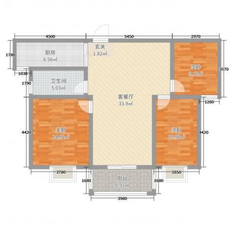 宿迁盛世嘉园3室2厅1卫1厨107.00㎡户型图