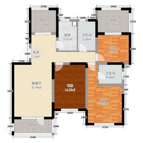 金色港湾3室2厅2卫1厨131.00㎡户型图