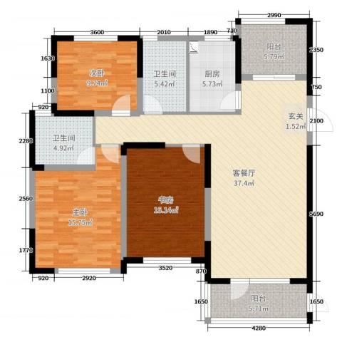 金色港湾3室2厅2卫1厨132.00㎡户型图