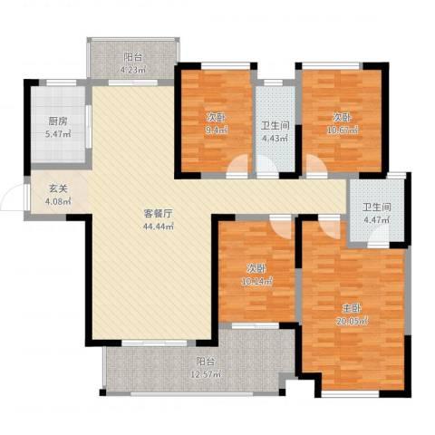 保利建业・香槟国际4室2厅2卫1厨157.00㎡户型图
