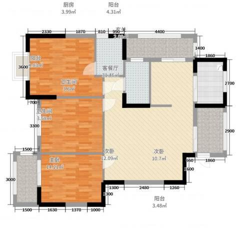 盛祥现代城3室2厅2卫1厨121.00㎡户型图