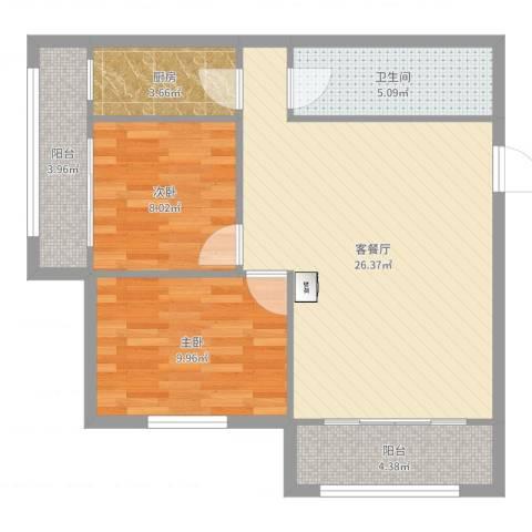 通惠家园惠民园2室2厅1卫1厨77.00㎡户型图