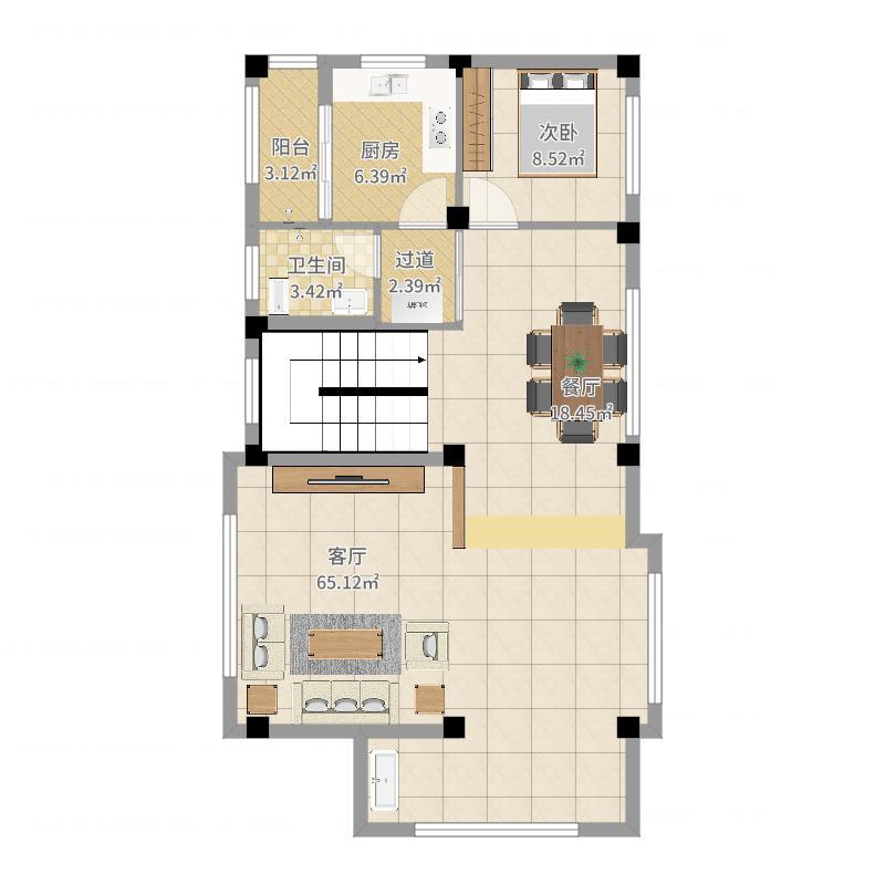 幸福村墅二层装修设计方案