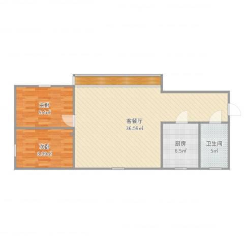 朗晴居2室2厅1卫1厨87.00㎡户型图