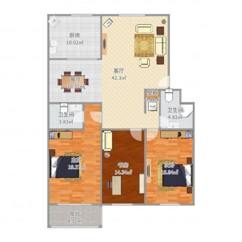 铁路南苑3室1厅2卫1厨145.00㎡户型图
