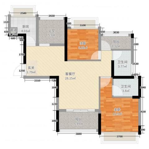 力沃幸福里2室2厅2卫1厨97.00㎡户型图