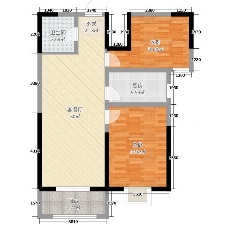 泽星・雅龙湾87.13㎡2#楼D户型2室2厅1卫1厨